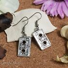 ER2521 Graceful Garden Vintage Style Cassette Tape Charm Dangle Hook Earrings