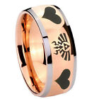 Tungsten Zelda Heart Design Rose Gold IP Glossy Dome 2 Tone Ring Full Size