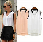 Amazing Womens Summer Loose Chiffon Sleeveless Vest Shirt Tops Blouse Low-cost