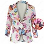 NEW LADIES BRIGHT FLOWER PRINT BLAZER JACKET WOMENS CELEB NEON LOOK JACKETS TOP
