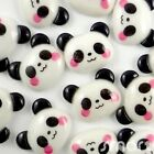 5/20/100pcs Resin Flatback/Button Lot Black White Panda Embellish DIY Cards