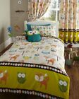 Woodland Creatures Owls Luxury White Green Duvet Cover Bedding Set Single Double