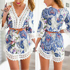 Hot Summer Sexy Lace Floral Evening Cocktail Party Women Casual Short Mini Dress