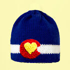 Colorado State Flag Hat, Knit Crochet Colorado Love Beanie any size baby - adult