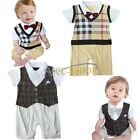 Baby Boy Wedding Formal Check Tuxedo Suit Romper Bodysuit Outfit 3-18M NEWBORN