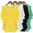PLUS SIZE Women Crew Neck Chiffon Off Shoulder Batwing Shirt Casual Top Blouse