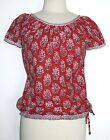 Anokhi Red Floral Buta Gypsy Top, 100% Cotton