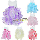 Girls Kids Flower Formal Wedding Bridesmaid Party Christening Tulle Dress 3-10Y