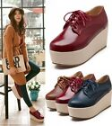 Womens Ladies 2015 Lace up Double Platform Wedge Creepers Shoes Plus Size JQ-9