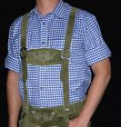 BLUE & WHITE German Men COTTON Trachten Lederhosen Oktoberfest Button Down SHIRT