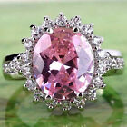 Oval Cut Pink & White Topaz Gemstone Silver Ring Size 6 7 8 9 10 Fashion Womens