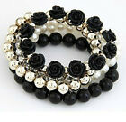 1Pcs Black Ladies Multilayer Crystal Resin Charms Bracelet Bangle Jewelry