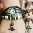 New Women Design Retro Quartz Wrist Watch Leather Bracelet Owl Decoration
