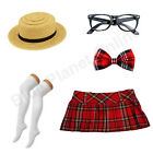 Ladies School Girl Boater Hat Glasses Bow Tie Tartan Skirt Socks Fancy Dress Cos
