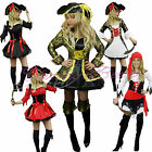 Pirate Fancy Dress Costume Ladies Outfit Womens Adult Plus Size 6-20 Musketeer