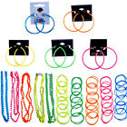 Neon Beads Necklace Bangles Bracelets Hoop Earrings Any Fancy Dress for Tutu