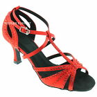 TPS Red Satin Rhinestone Latin Ballroom Salsa Dance Shoes 3 Inches US7.5 Q52