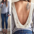 Women Blouse Fashion Women Casual Long Sleeve Plus Size Shirt Backless Tops New