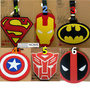 BATMAN Captain America SUPERMAN IRONMAN Travel Luggage Tag School Bag Silicone