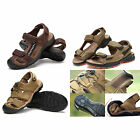 MENS Walking Hiking Beach Leather Velcro Sport Sandals Black Comfy Outdoor Shoes