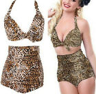 FD2109 Women Retro Pin Up High Waist Bikini Set Suit Swimwear ~Leopard~ S-2XL