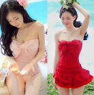 FD2120 Hot One Piece Swimwear Bikini Swimsuit Halter Backless Tiered Suit Skirt