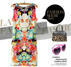 Womens Round Neck Vest Dress Floral Sleeveless Stretchy Package Hip A3452 FOZ