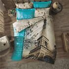 DOUBLE DUVET QUILT COVER SET PARIS IN LOVE 4 PCS Turquoise NEW EIFFEL TOWER