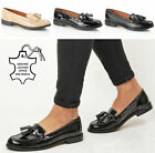 Womens ladies leather tassel fringe comfort slip on office work loafers shoes