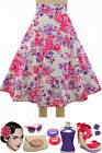 50s Style PLUS SZ BOMBSHELL Pinup PINK CLUSTER ROSE Print High Waist FULL Skirt