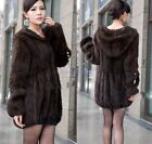 100% Real Genuine Knitted Mink Fur Long Coat Jacket Hoody Outwear Vintage C0047