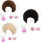 LADIES HIPPIE HIPPY AFRO CURLY WIG PEACE MEDALLION & SUNGLASSES 1970S FANCY DRES