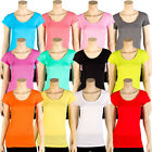 Womens Basic Tee T Shirt Short Sleeve Round Crew Neck Solid Colors Plain S M L