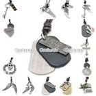 HOT Punk MENS Military Army Rope Genuine Leather Dog Tag Pendant Necklace Chain