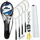 Pro 4 Player Badminton Rackets Set Net Poles Outdoor New Garden Games Activty