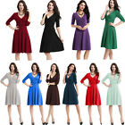 Classic Rockabilly Womens Vintage Office Wear Cocktail Party Evening Swing Dress