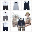 Baby Boys Wedding Check Tuxedo Suit Bowtie Romper Bodysuit Outfit 6-18M NEWBORN