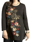 ULLA POPKEN Black Joyful Cascade Floral Embroidered & Print Tunic Top Size 28/30