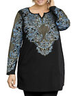 ULLA POPKEN Black ALEXANDRA Medallion Stamp Print Knit Tunic Size 28/30 LAST ONE