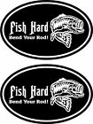 2 FISH HARD .. Fishing Hunting Bass Deer Walleye truck vinyl decals stickers