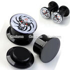 "2pc 6g-9/16"" Demon Skull Acrylic Screw Ear Tunnel Plug Stretcher Expander Gothic"
