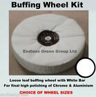 Chrome Polishing Kit - Loose Leaf Cotton Wheel, Pigtail and WHITE buffing bar
