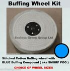 Metal Polishing Kit - Stitched Cotton Wheel & Blue Buffing Bar ( Smurf Poo )