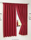 RUBY RED POLKA DOT UNLINED CURTAINS NICE QUALITY PAIR WITH TIEBACKS.5  SIZES