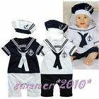 Baby Boys&Girls Sailor Outfit Navy Captain Marine Costume Romper+Hat Party Set