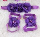 3Pcs 1Set Newborn Baby Kid Girl Flower Headband Hair Band Headdress +Foot flower