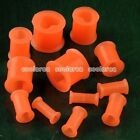 "Pair 6g-1/2"" Orange Heart Flexible Silicone Ear Tunnel Plugs Stretcher Expander"