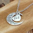 I Love You To The Moon And Back Silver Heart Family Necklace Moon Pendant Gifts