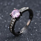 Fashion Size 7,8,9,10 Woman's Pink Sapphire Black 18K Gold Filled Wedding Rings