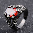 Solitaire Size 8,9,10,11 Red Garnet Black 18k Gold Filled Fashion Ring Gift Halo